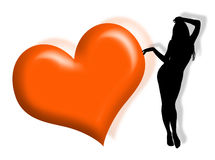 Woman in love. Black woman silhouette in love with hearts Stock Photo