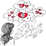 Woman in love with broken hearts Royalty Free Stock Photos