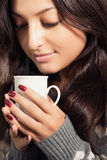 Woman in love with coffee. Royalty Free Stock Image