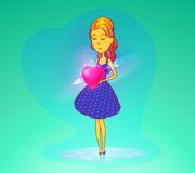 Woman in love or girl holding heart. Woman or girl, young lady in skirt or dress holding heart with cupid on arrow. Cartoon female in love or valentine day Stock Photos