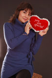 Woman with love heart royalty free stock photo