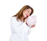 Woman in love with her savings Royalty Free Stock Image