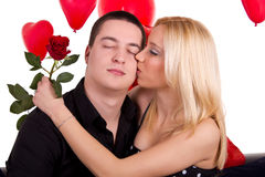 Woman in love kissing Royalty Free Stock Image
