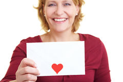 Woman with love letter Royalty Free Stock Images