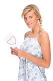 Woman with love letter Royalty Free Stock Photography