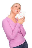 Woman with love letter Stock Photos