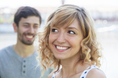 Woman in love looking for her boyfriend Royalty Free Stock Photo