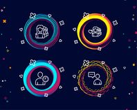 Woman love, Time management and Women headhunting icons. Users chat sign. Set of Woman love, Time management and Women headhunting icons. Users chat sign stock illustration