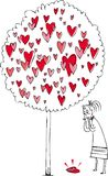 Woman and love tree vector  Royalty Free Stock Image