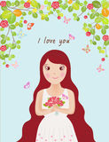 Woman in love vector illustration Royalty Free Stock Photo