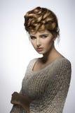 Woman with lovely elegant hairdo Stock Photo