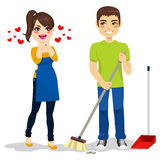 Woman Loves Boyfriend Cleaning Stock Images