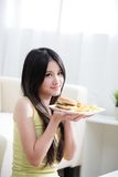 Woman loves hamburger Stock Photography