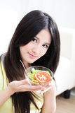 Woman loves salad Stock Images