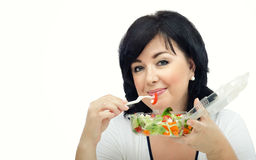 Woman loves takeaway salad Royalty Free Stock Images