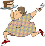 Woman loving her chocolate cake. An excited woman dancing with a piece of chocolate cake and a fork Stock Photography