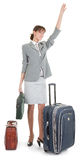 Woman  with a luggage Royalty Free Stock Photos