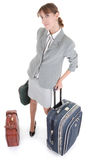 Woman  with a luggage Royalty Free Stock Photography