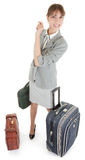 Woman  with a luggage. Business woman  with a luggage on white background Stock Images