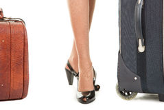 Woman  with a luggage. Business woman  with a luggage on white background Royalty Free Stock Image
