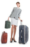 Woman  with a luggage. Business woman  with a luggage on white background Stock Photos