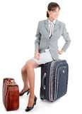 Woman  with a luggage Stock Image