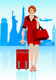 Woman With Luggage royalty free illustration