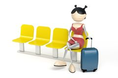 Woman with a luggage. In a waiting room Royalty Free Stock Photo