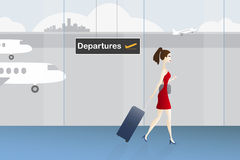 Woman with luggage at the airport Royalty Free Stock Photos
