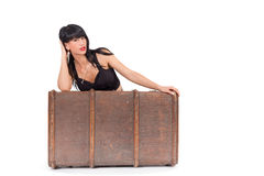 Woman and luggage Royalty Free Stock Photos