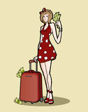 Woman with a luggage bag full of money Royalty Free Stock Photos