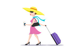 Woman with a luggage bag Stock Image
