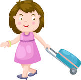 Woman with a luggage bag vector Stock Photography
