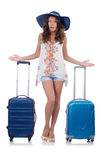 Woman with luggage isolated Royalty Free Stock Photo