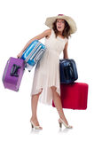 Woman with luggage isolated Stock Photos