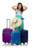 Woman with luggage isolated Royalty Free Stock Images