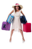 Woman with luggage isolated Stock Photo