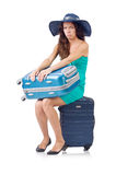 Woman with luggage isolated Royalty Free Stock Photography