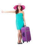 Woman with luggage isolated Royalty Free Stock Image