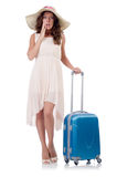 Woman with luggage isolated Stock Photography