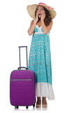 Woman with luggage isolated Stock Images