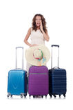 Woman with luggage isolated Stock Image