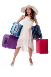 Woman with luggage isolated Royalty Free Stock Photos