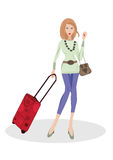 Woman with luggage Stock Photography