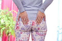 Woman with lumbar pain Stock Photography