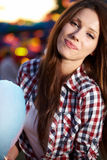 Woman in the lunapark Stock Image