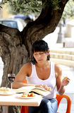 Woman at lunch stock photography