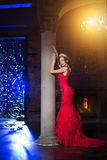 Woman in lux dress with crown like queen, princess, lights party Stock Photos