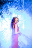 Woman in lux dress with crown like queen, princess, lights party Stock Image