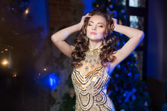 Woman in lux dress with crown like queen, princess, lights party Royalty Free Stock Image